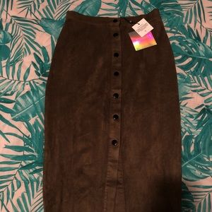 NWT MISSGUIDED Midi Suede Olive Button-Up Skirt